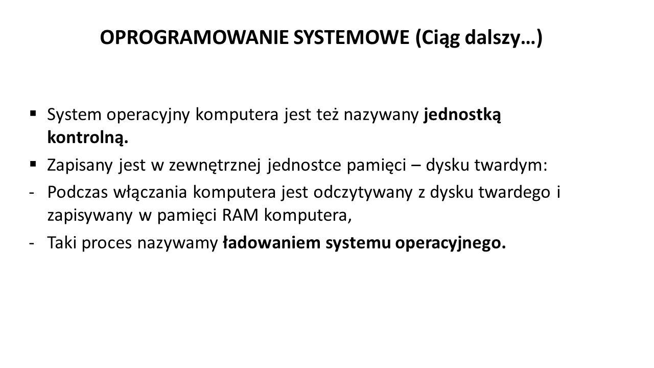 OPROGRAMOWANIE SYSTEMOWE (Ciąg dalszy…)