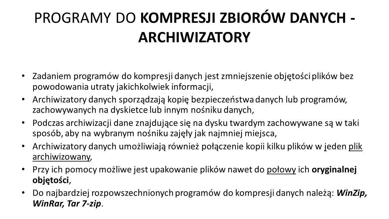 PROGRAMY DO KOMPRESJI ZBIORÓW DANYCH - ARCHIWIZATORY