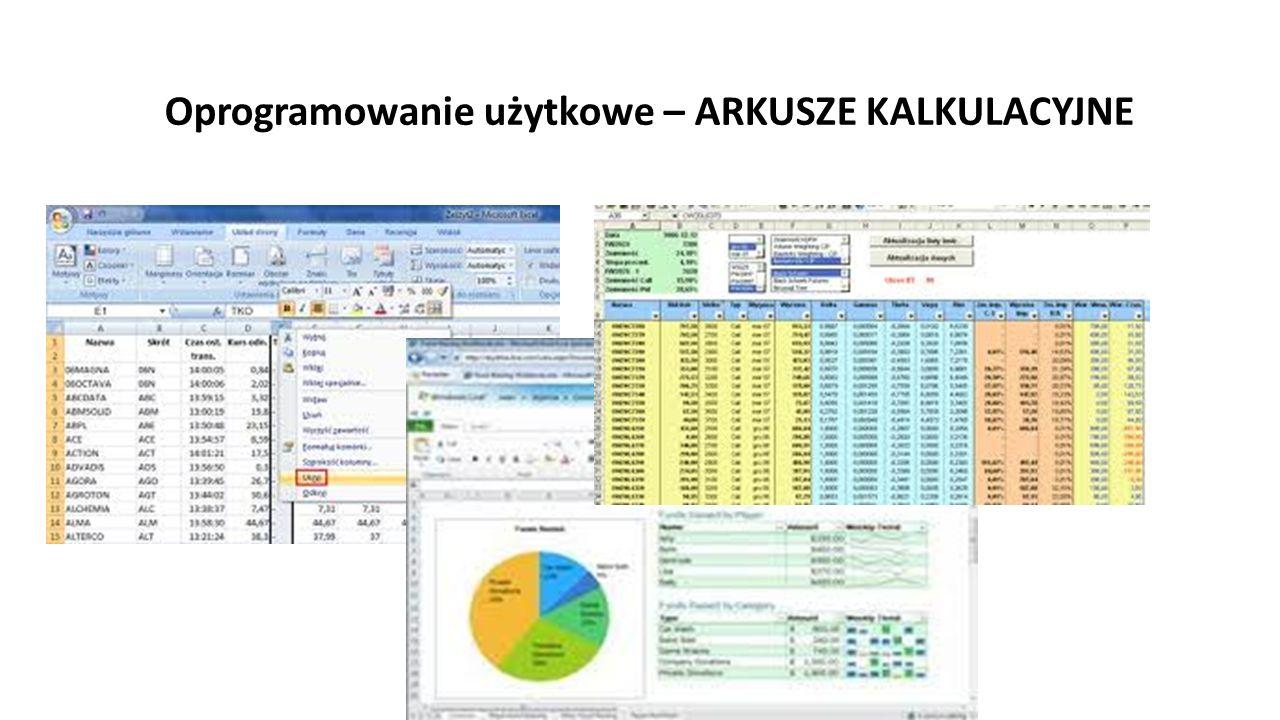 Oprogramowanie użytkowe – ARKUSZE KALKULACYJNE