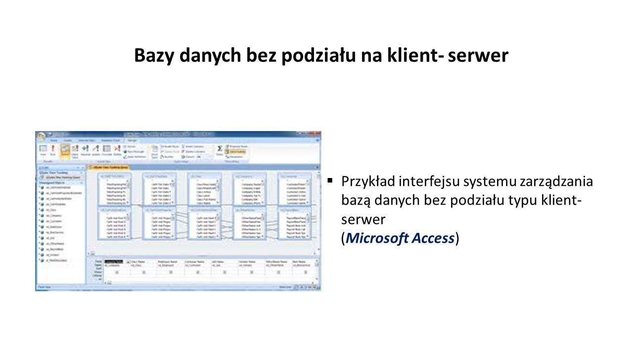Bazy danych bez podziału na klient- serwer