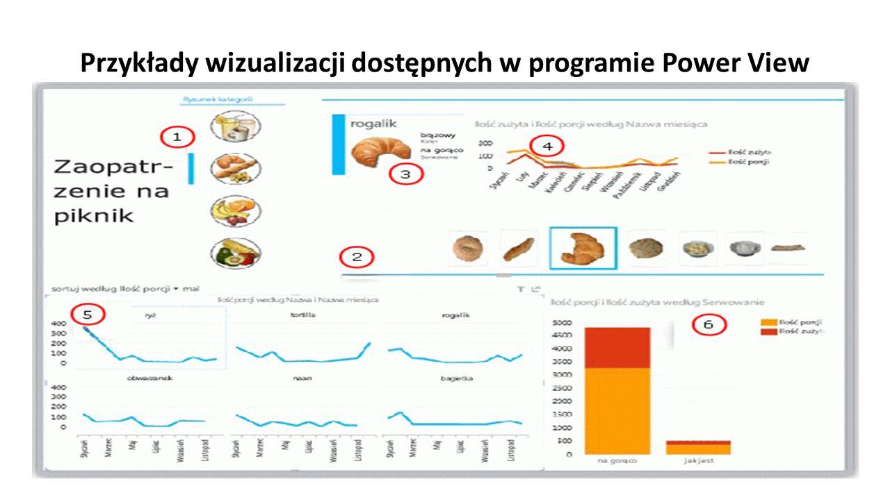 Przykłady wizualizacji dostępnych w programie Power View