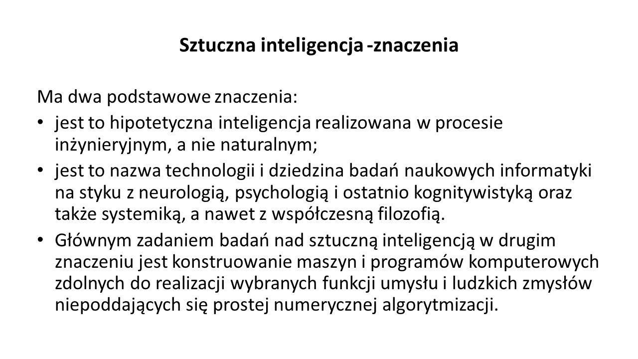 Sztuczna inteligencja -znaczenia