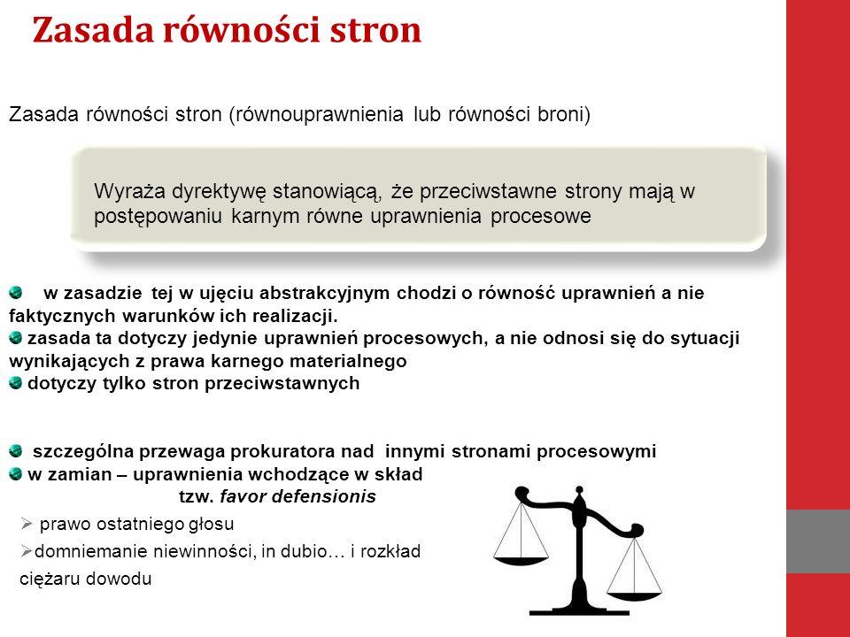 Zasada równości stron Zasada równości stron (równouprawnienia lub równości broni)