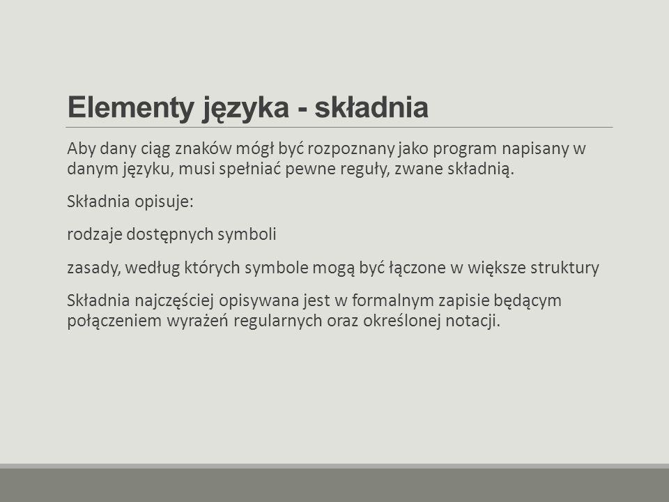 Elementy języka - składnia