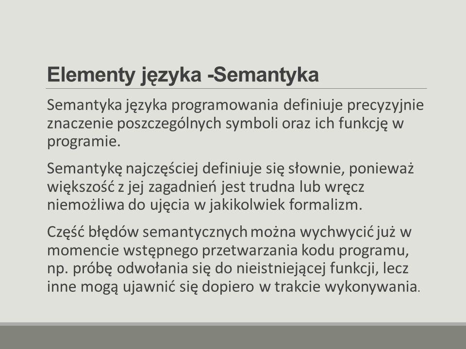 Elementy języka -Semantyka