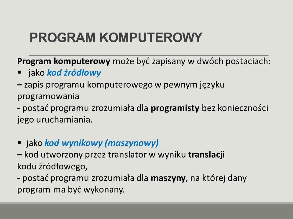 PROGRAM KOMPUTEROWY Program komputerowy może być zapisany w dwóch postaciach: jako kod źródłowy.