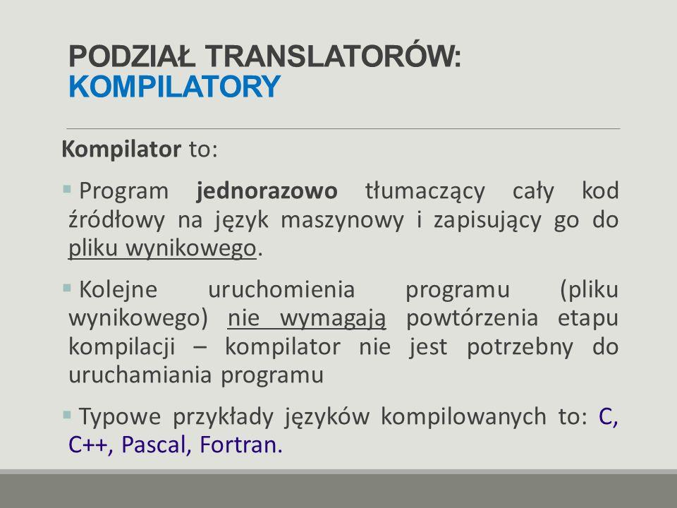 PODZIAŁ TRANSLATORÓW: KOMPILATORY