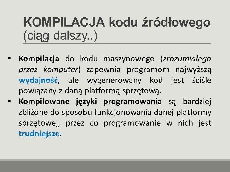 KOMPILACJA kodu źródłowego (ciąg dalszy..)