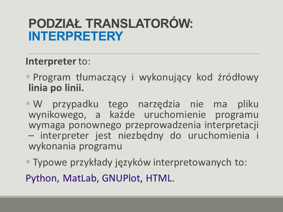 PODZIAŁ TRANSLATORÓW: INTERPRETERY
