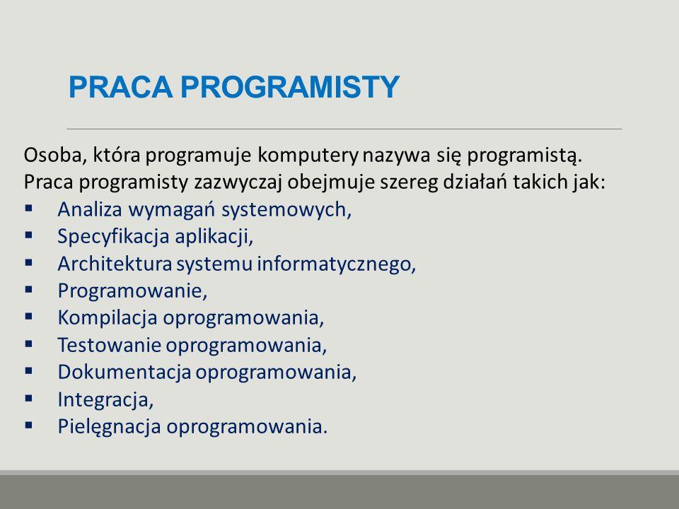 PRACA PROGRAMISTY Osoba, która programuje komputery nazywa się programistą. Praca programisty zazwyczaj obejmuje szereg działań takich jak:
