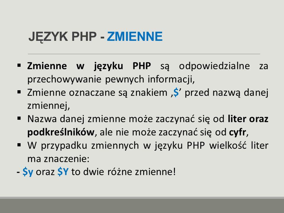 JĘZYK PHP - ZMIENNE Zmienne w języku PHP są odpowiedzialne za przechowywanie pewnych informacji,