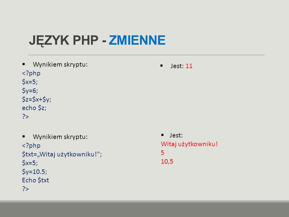 JĘZYK PHP - ZMIENNE Wynikiem skryptu: Jest: 11