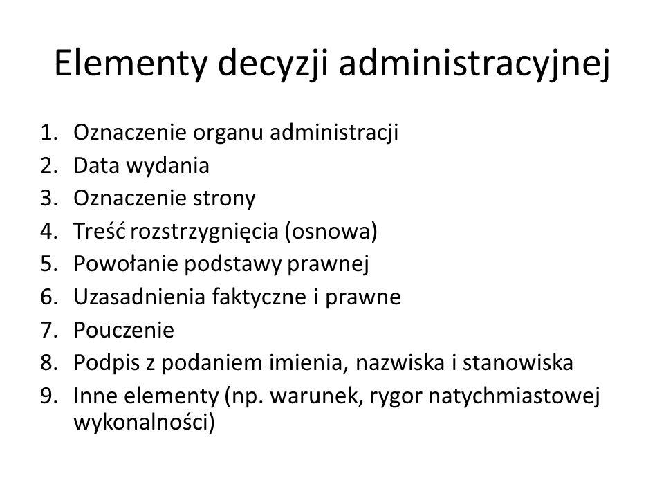 Elementy decyzji administracyjnej