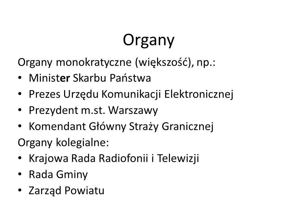 Organy Organy monokratyczne (większość), np.: Minister Skarbu Państwa