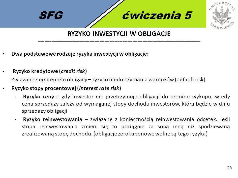 SFG ćwiczenia 5 Ryzyko inwestycji w obligacje __________________________________________________________________________________________________.