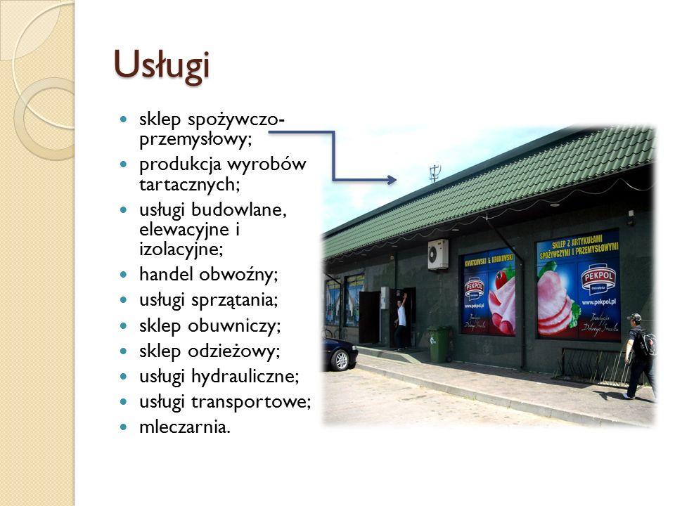 Usługi sklep spożywczo- przemysłowy; produkcja wyrobów tartacznych;