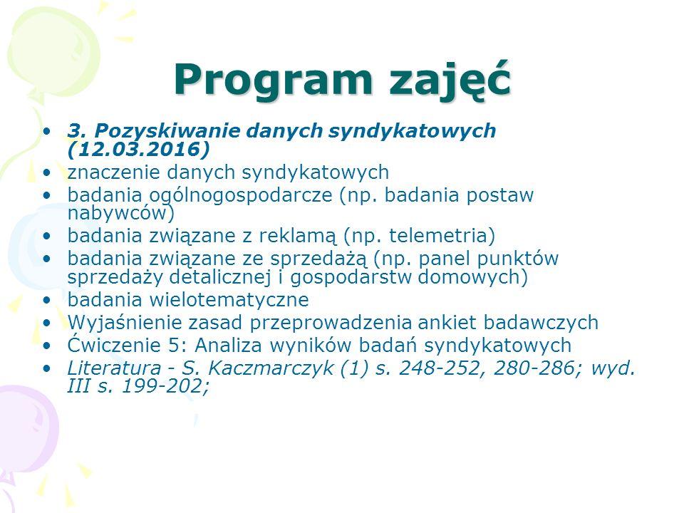 Program zajęć 3. Pozyskiwanie danych syndykatowych (12.03.2016)