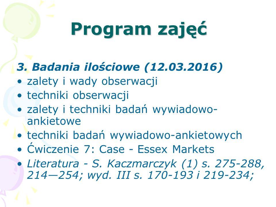Program zajęć 3. Badania ilościowe (12.03.2016)