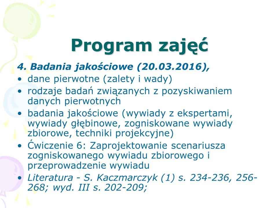 Program zajęć 4. Badania jakościowe (20.03.2016),