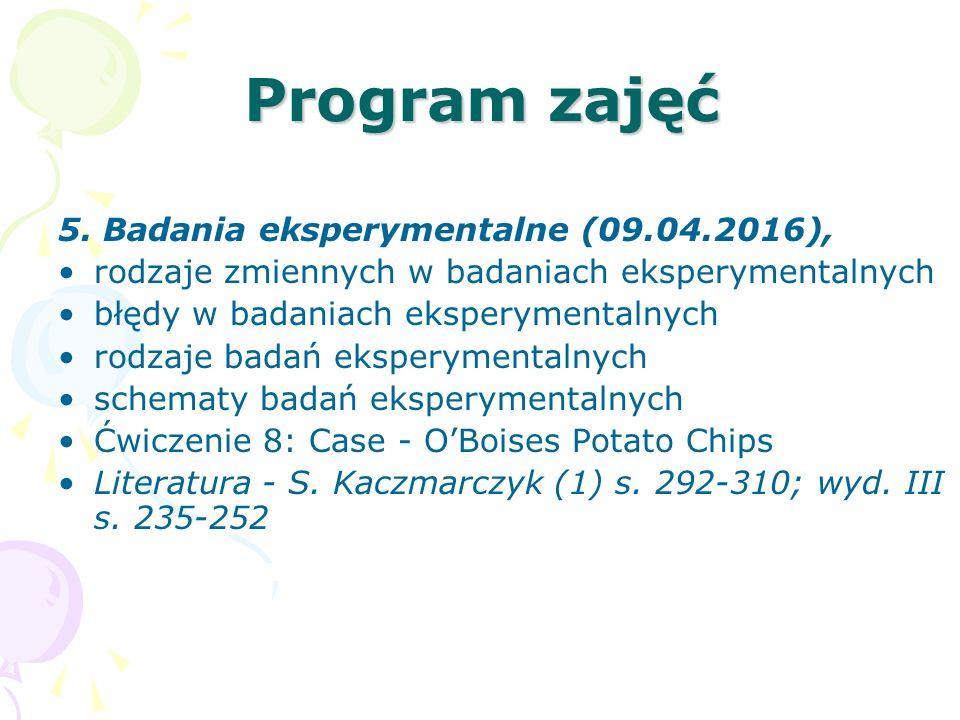 Program zajęć 5. Badania eksperymentalne (09.04.2016),