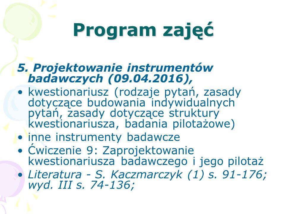 Program zajęć 5. Projektowanie instrumentów badawczych (09.04.2016),