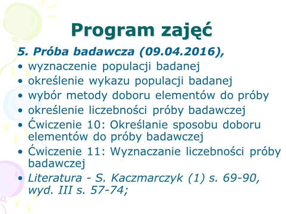 Program zajęć 5. Próba badawcza (09.04.2016),