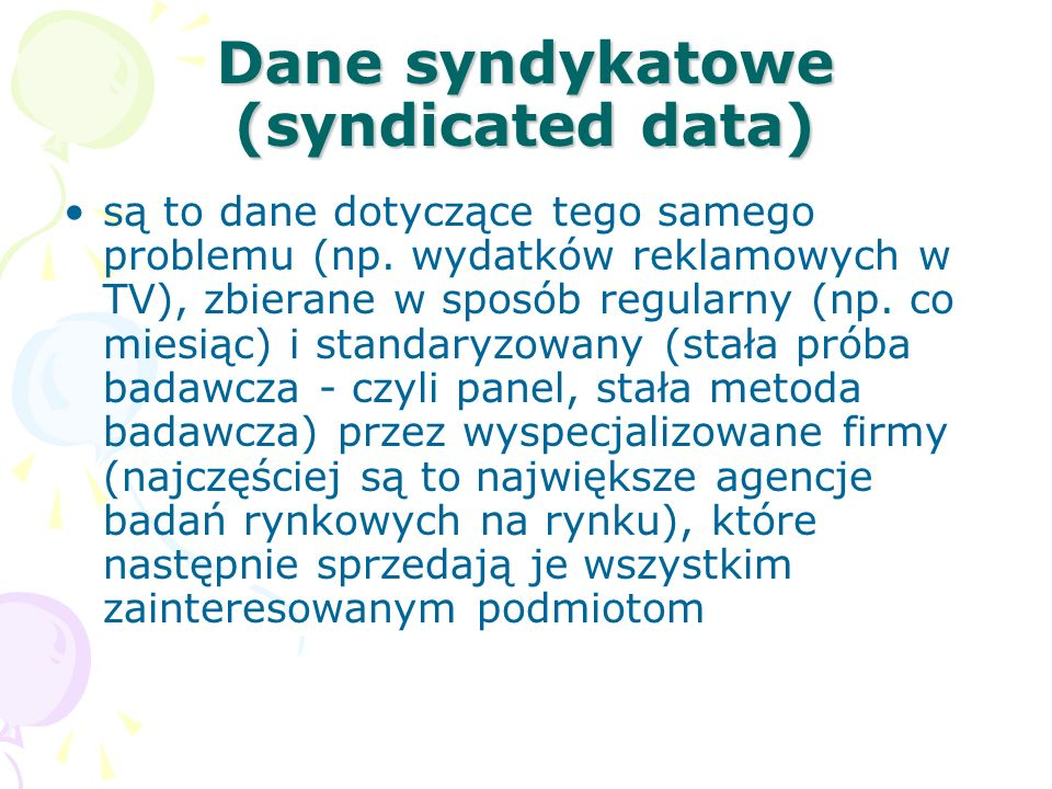 Dane syndykatowe (syndicated data)