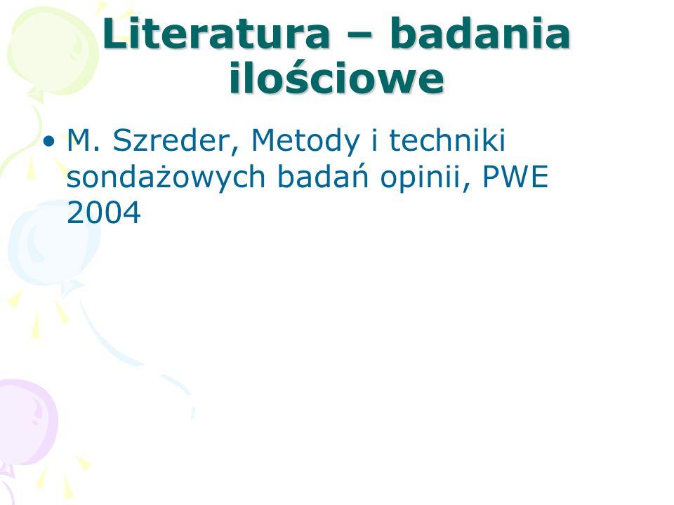 Literatura – badania ilościowe