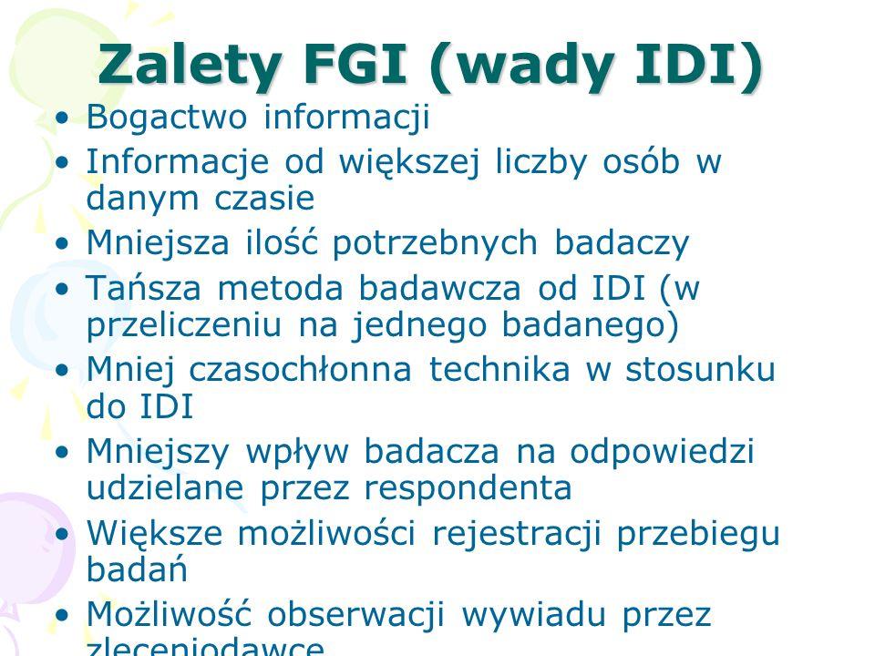 Zalety FGI (wady IDI) Bogactwo informacji