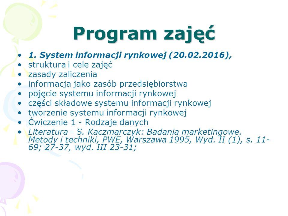 Program zajęć 1. System informacji rynkowej (20.02.2016),
