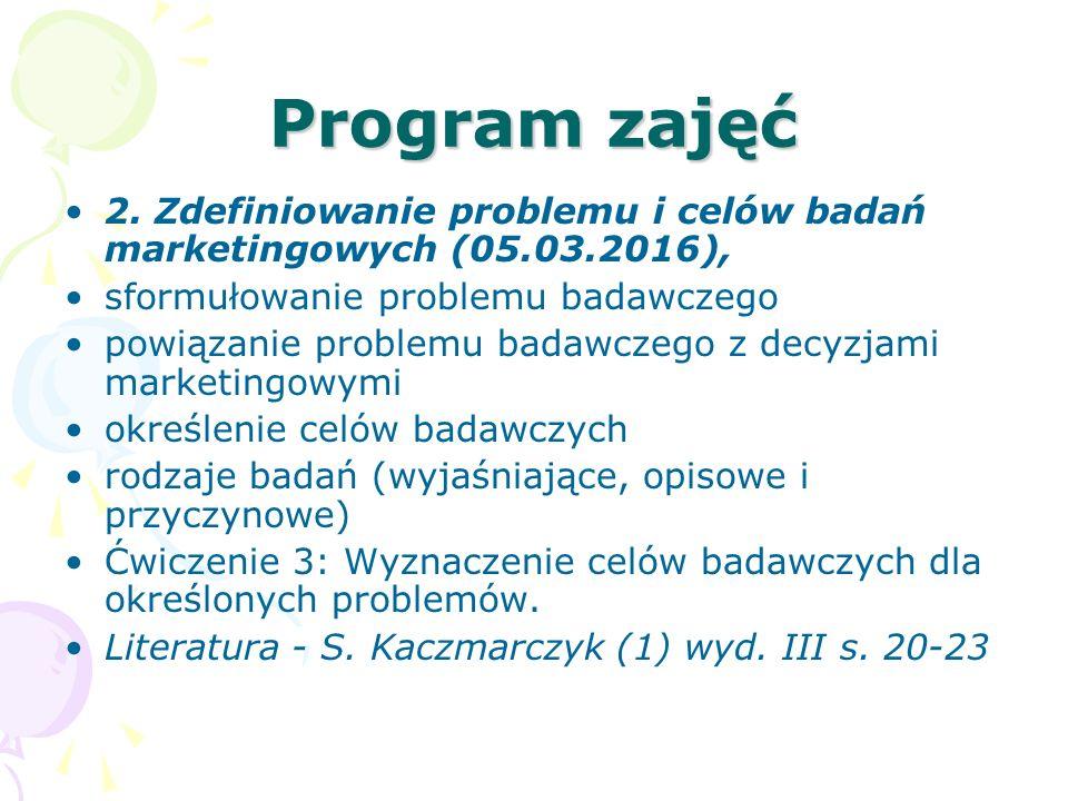 Program zajęć 2. Zdefiniowanie problemu i celów badań marketingowych (05.03.2016), sformułowanie problemu badawczego.