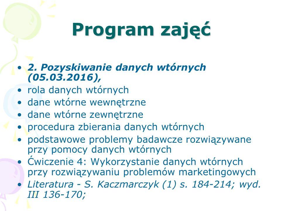 Program zajęć 2. Pozyskiwanie danych wtórnych (05.03.2016),