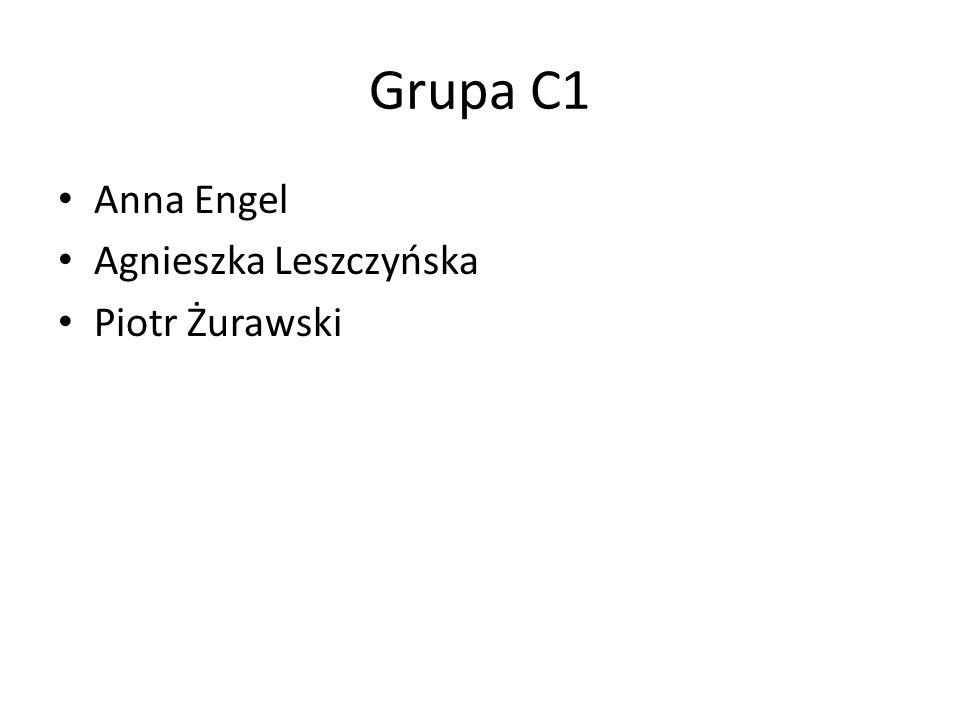 Grupa C1 Anna Engel Agnieszka Leszczyńska Piotr Żurawski
