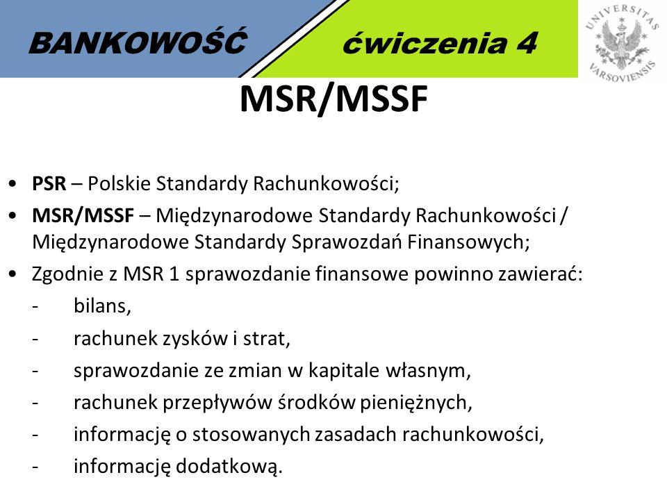 MSR/MSSF BANKOWOŚĆ ćwiczenia 4 PSR – Polskie Standardy Rachunkowości;