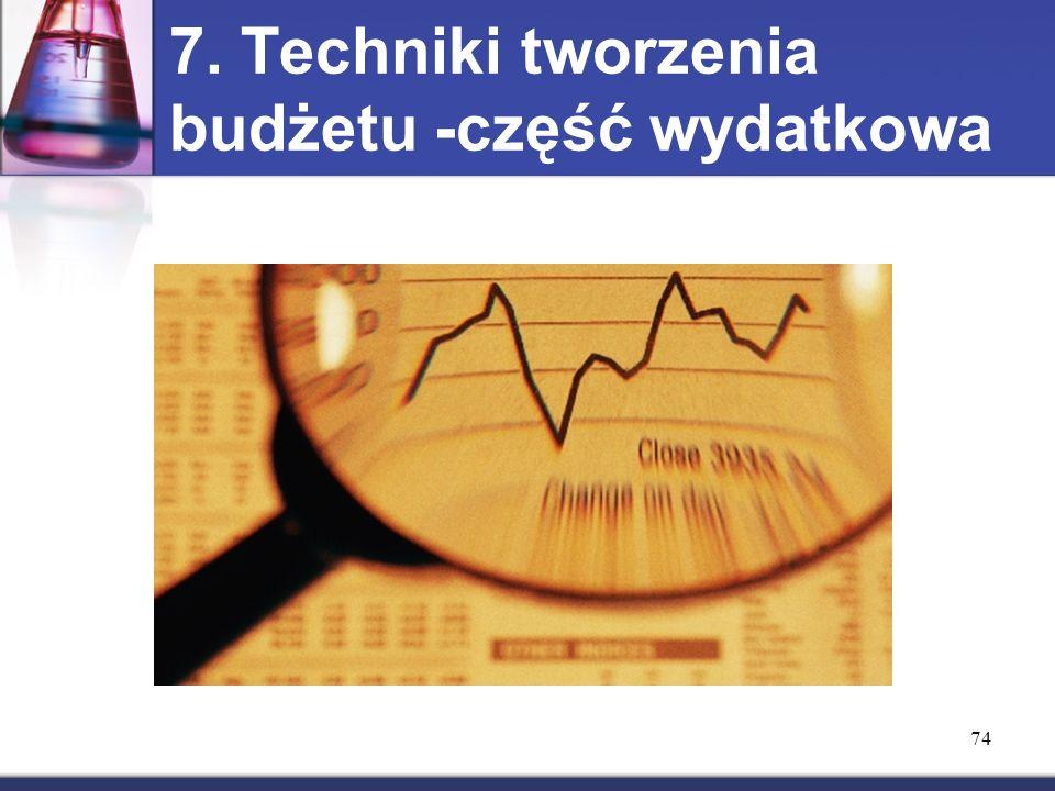 7. Techniki tworzenia budżetu -część wydatkowa