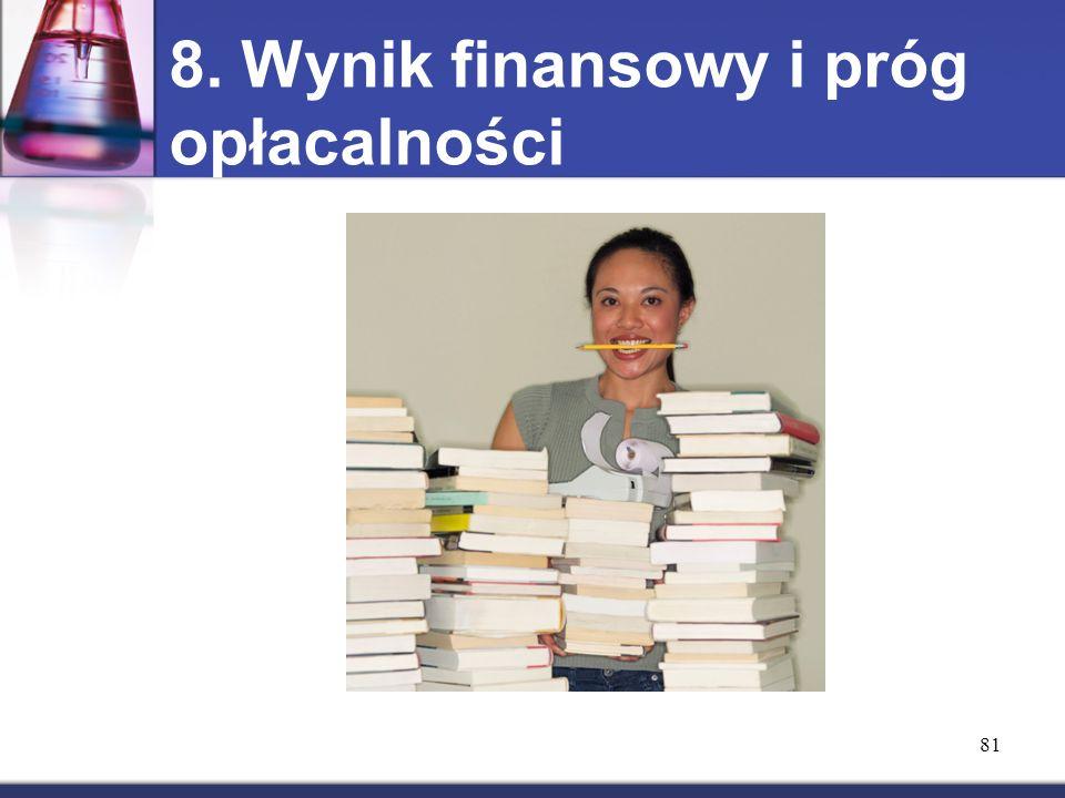 8. Wynik finansowy i próg opłacalności