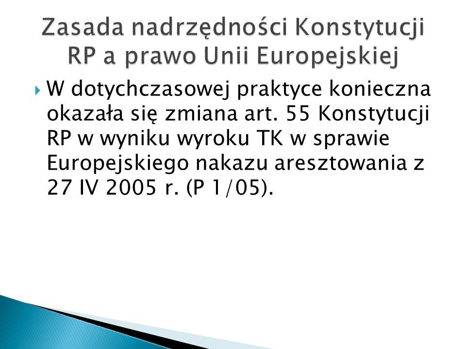 Zasada nadrzędności Konstytucji RP a prawo Unii Europejskiej