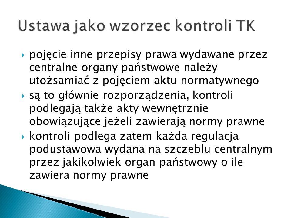 Ustawa jako wzorzec kontroli TK