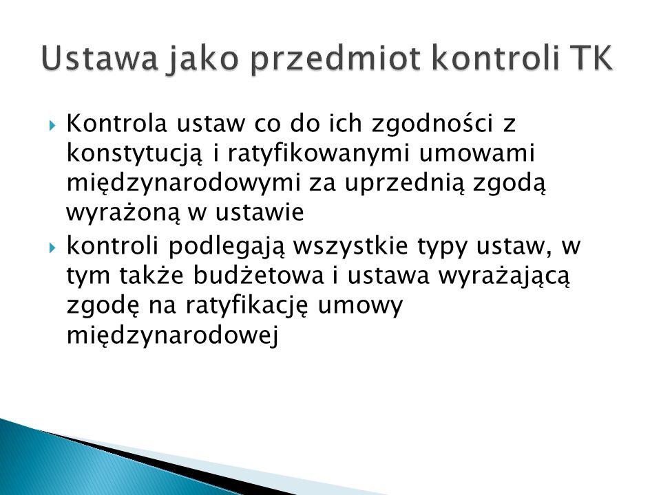 Ustawa jako przedmiot kontroli TK