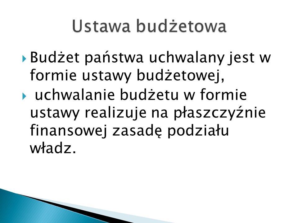 Ustawa budżetowa Budżet państwa uchwalany jest w formie ustawy budżetowej,