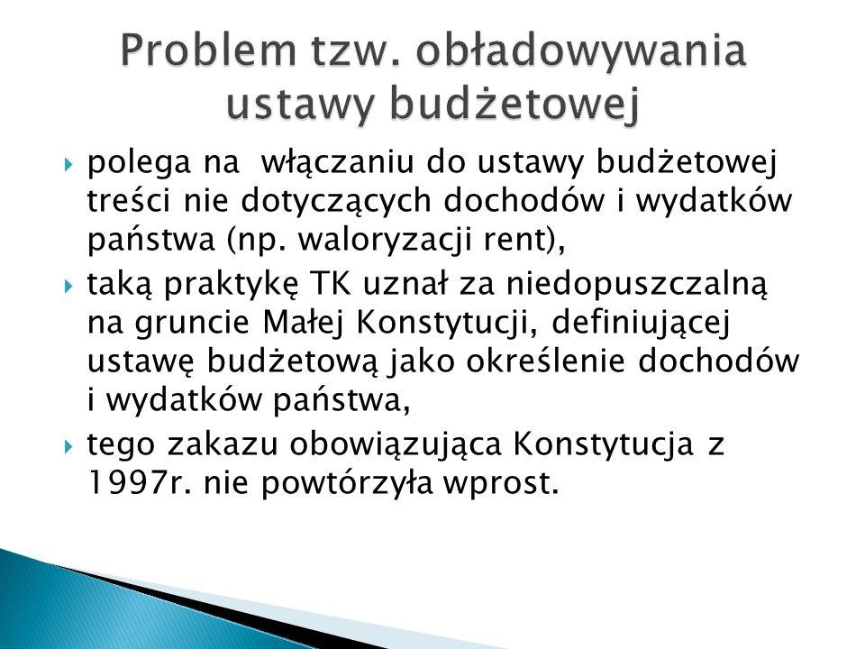 Problem tzw. obładowywania ustawy budżetowej