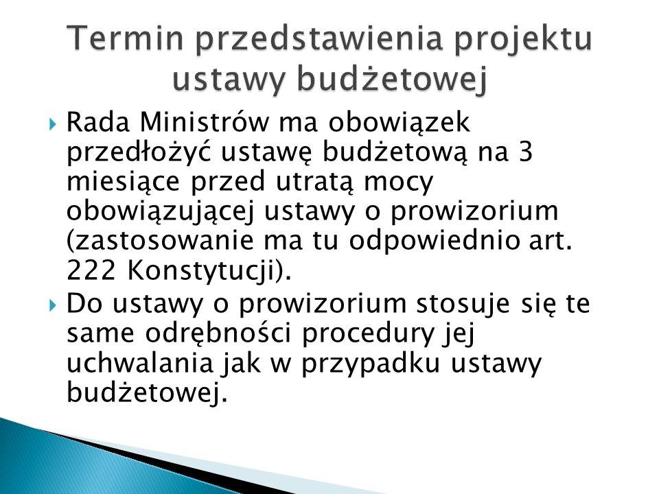 Termin przedstawienia projektu ustawy budżetowej