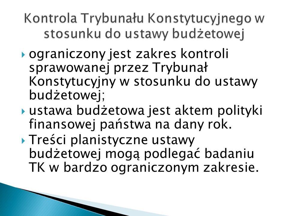 Kontrola Trybunału Konstytucyjnego w stosunku do ustawy budżetowej
