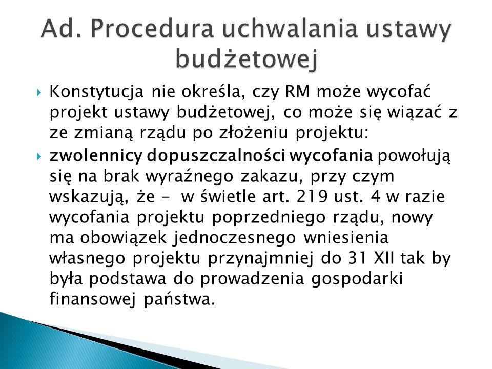 Ad. Procedura uchwalania ustawy budżetowej