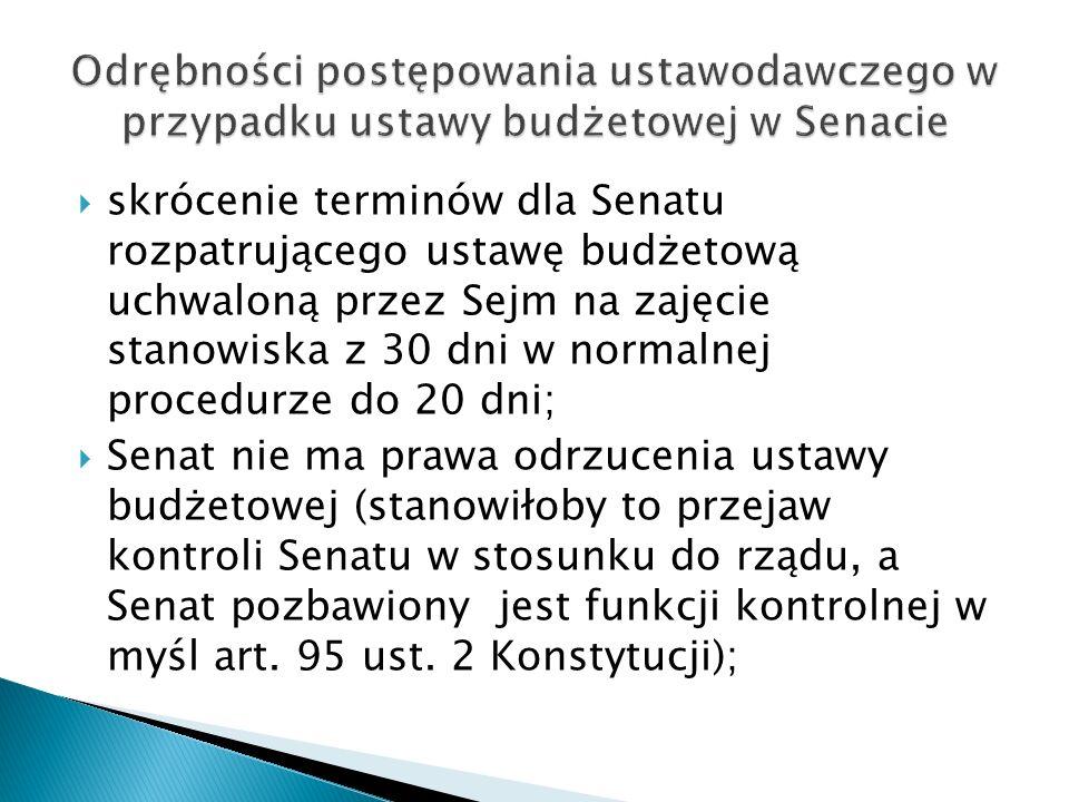Odrębności postępowania ustawodawczego w przypadku ustawy budżetowej w Senacie
