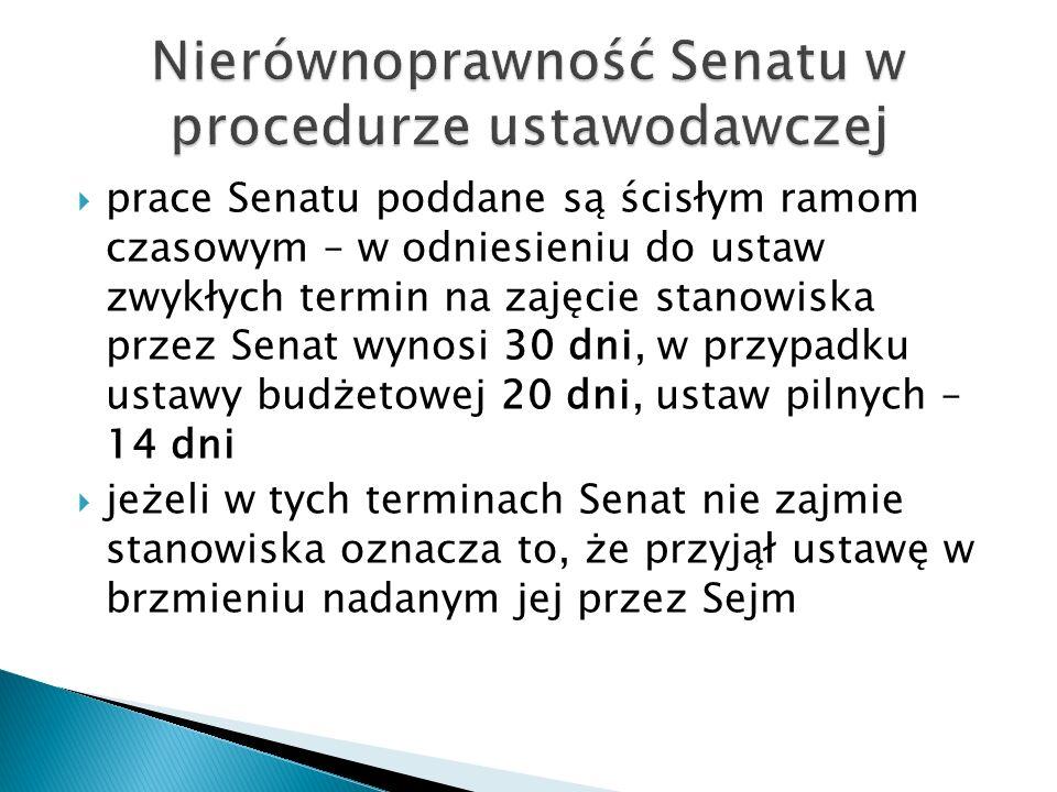 Nierównoprawność Senatu w procedurze ustawodawczej