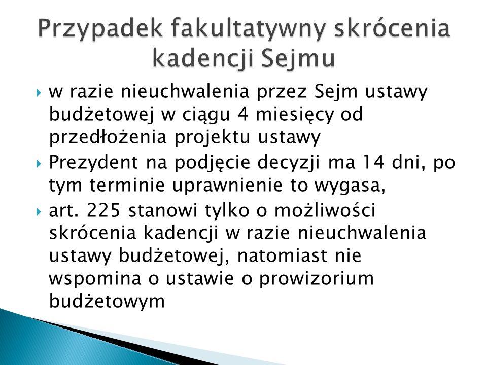 Przypadek fakultatywny skrócenia kadencji Sejmu