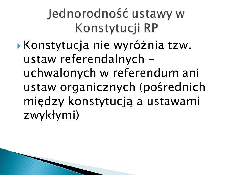 Jednorodność ustawy w Konstytucji RP