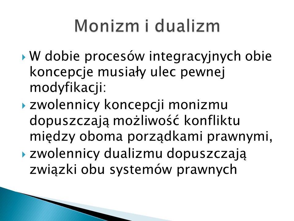 Monizm i dualizm W dobie procesów integracyjnych obie koncepcje musiały ulec pewnej modyfikacji: