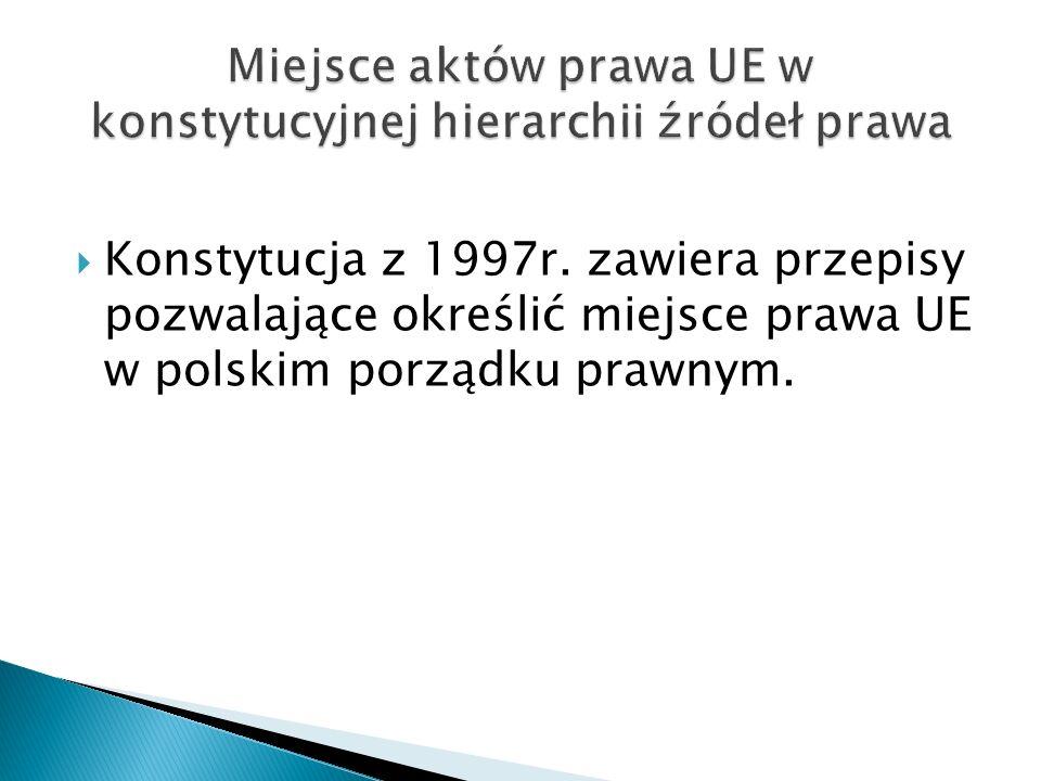 Miejsce aktów prawa UE w konstytucyjnej hierarchii źródeł prawa